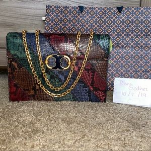 Tory Burch Gemini Link Snake Skin Multi Color.